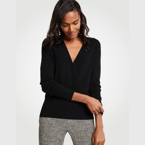 Ann Taylor Crossover Sweater In Black
